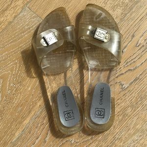 Chanel clear jelly slides.Excellent condition!